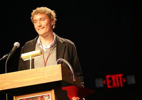 Taylor Horky accepts award