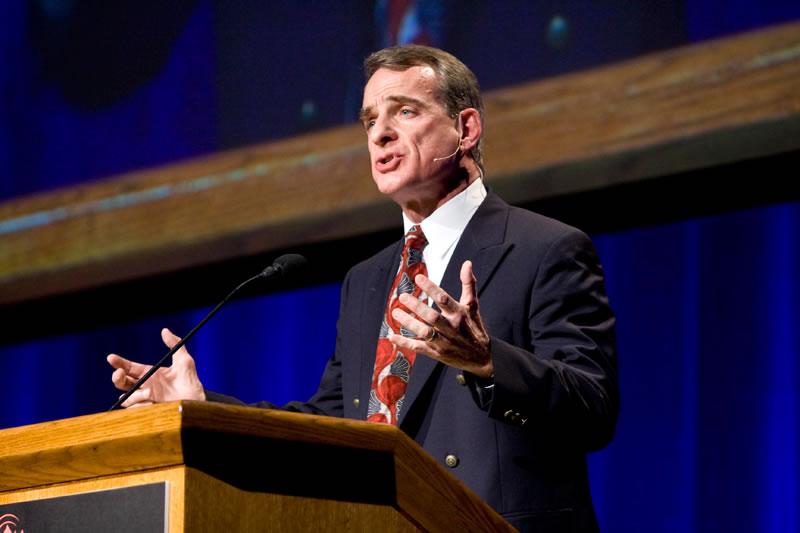 "William Lane Craig at Biola University's ""Does God Exist?"" debate last April, where he debated atheist Christopher Hitchens."