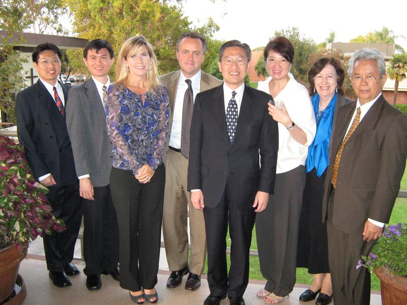 Budi Legowo, Ferry Yang, Dr. James Riady, Aileen Riady, Anne Parapak, Dr. Jonathan Parapak came from Indonesia to visit with President Corey and his wife, Paula.