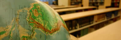 A world globe in the university library